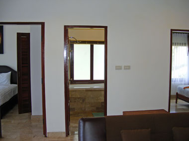 View in to 2 bedrooms and bathroom