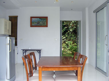 Dining area and bach door