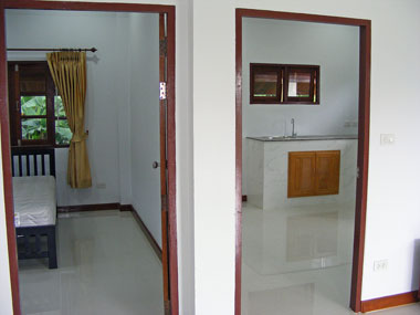 View int a bedroom and kitchen