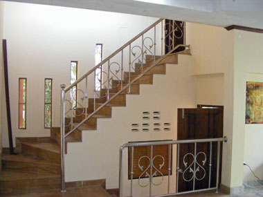 Stairs to the upper bed- and bathroom