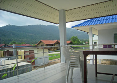 view from the terrace to the mountains